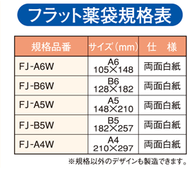 フラット薬袋規格表